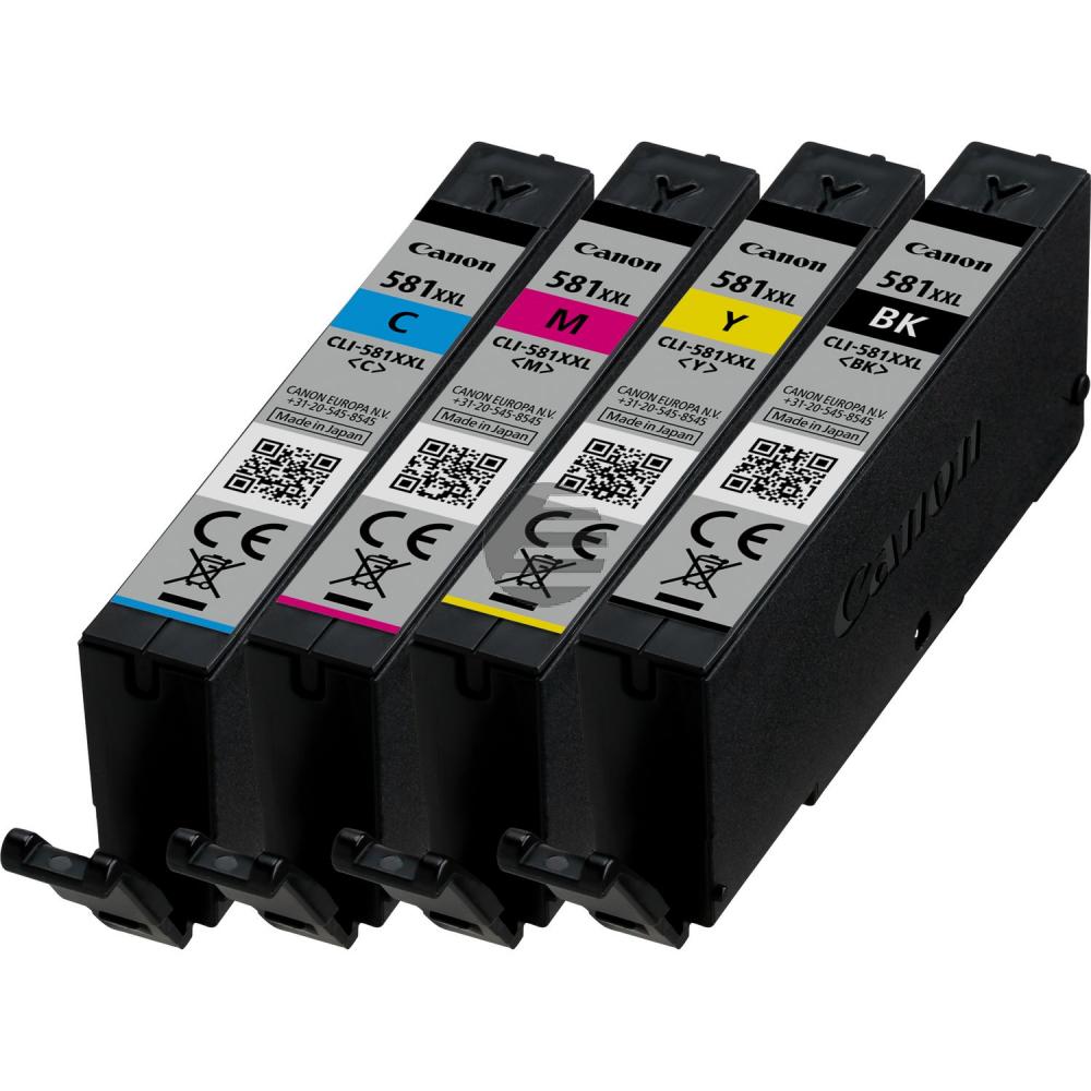 Canon Tintenpatrone gelb cyan magenta schwarz (1998C005, CLI-581BKXXL CLI-581CXXL CLI-581MXXL CLI-581YXXL)