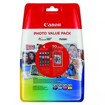 Canon Tintenpatrone Fotopapier Hochglanz DIN A4 gelb cyan magenta schwarz (4540B017, CLI-526)