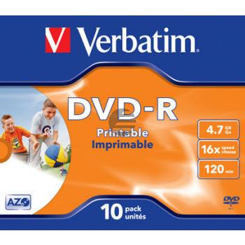 VERBATIM DVD-R 4.7GB 16x (10) JC 43521 Jewel Case breit bedruckbar