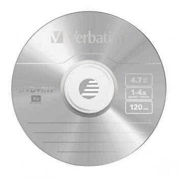 VERBATIM DVD+RW 4.7GB 4x (10) SP 43488 Spindel matt silber