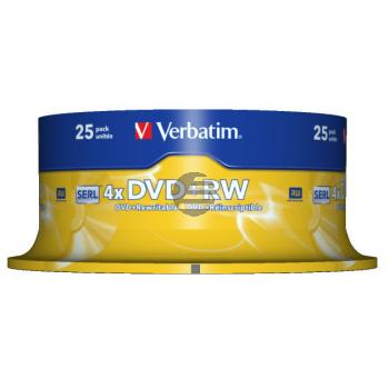 VERBATIM DVD+RW 4.7GB 4x (25) SP 43489 Spindel kratzfest