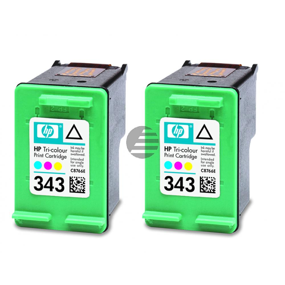 HP Tintenpatrone 2 x cyan/gelb/magenta (CB332EE, 2 x 343)