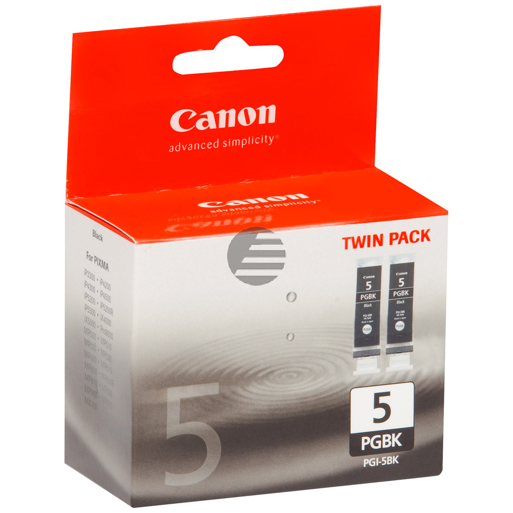 Canon Tintenpatrone 2 x schwarz 2-Pack (0628B030, 2 x PGI-5BK)