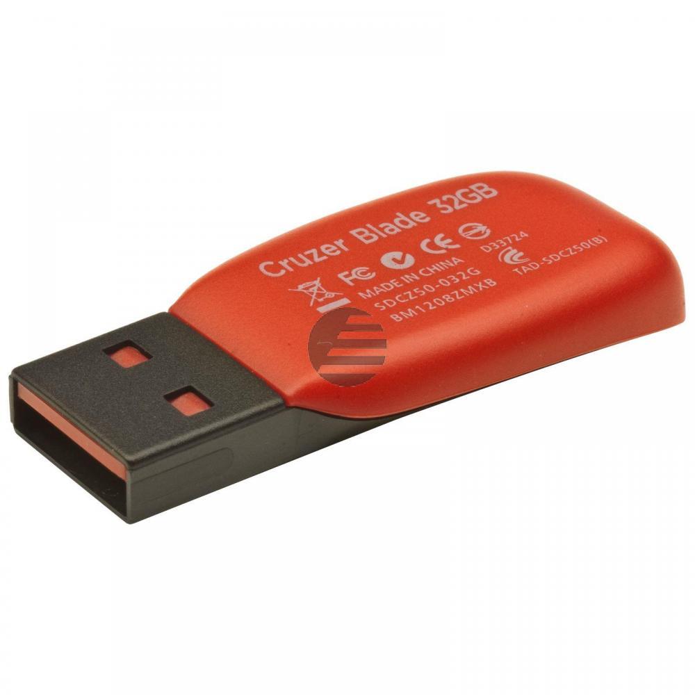 SANDISK CRUZER BLADE USB STICK 32GB SDCZ50-032G-B35 USB 2.0 schwarz