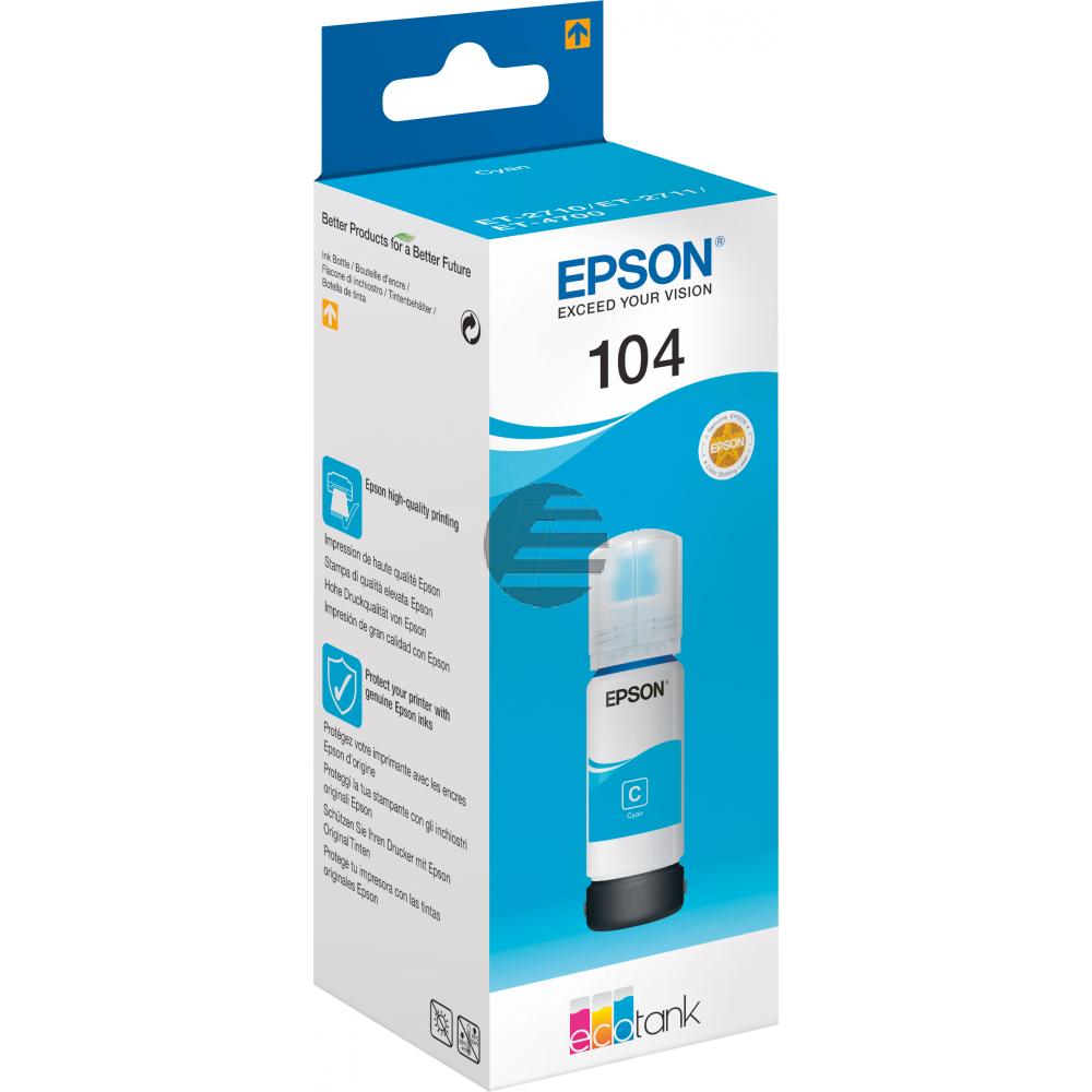 Epson Tintennachfüllfläschchen (ecotank) cyan (C13T00P240, 104)