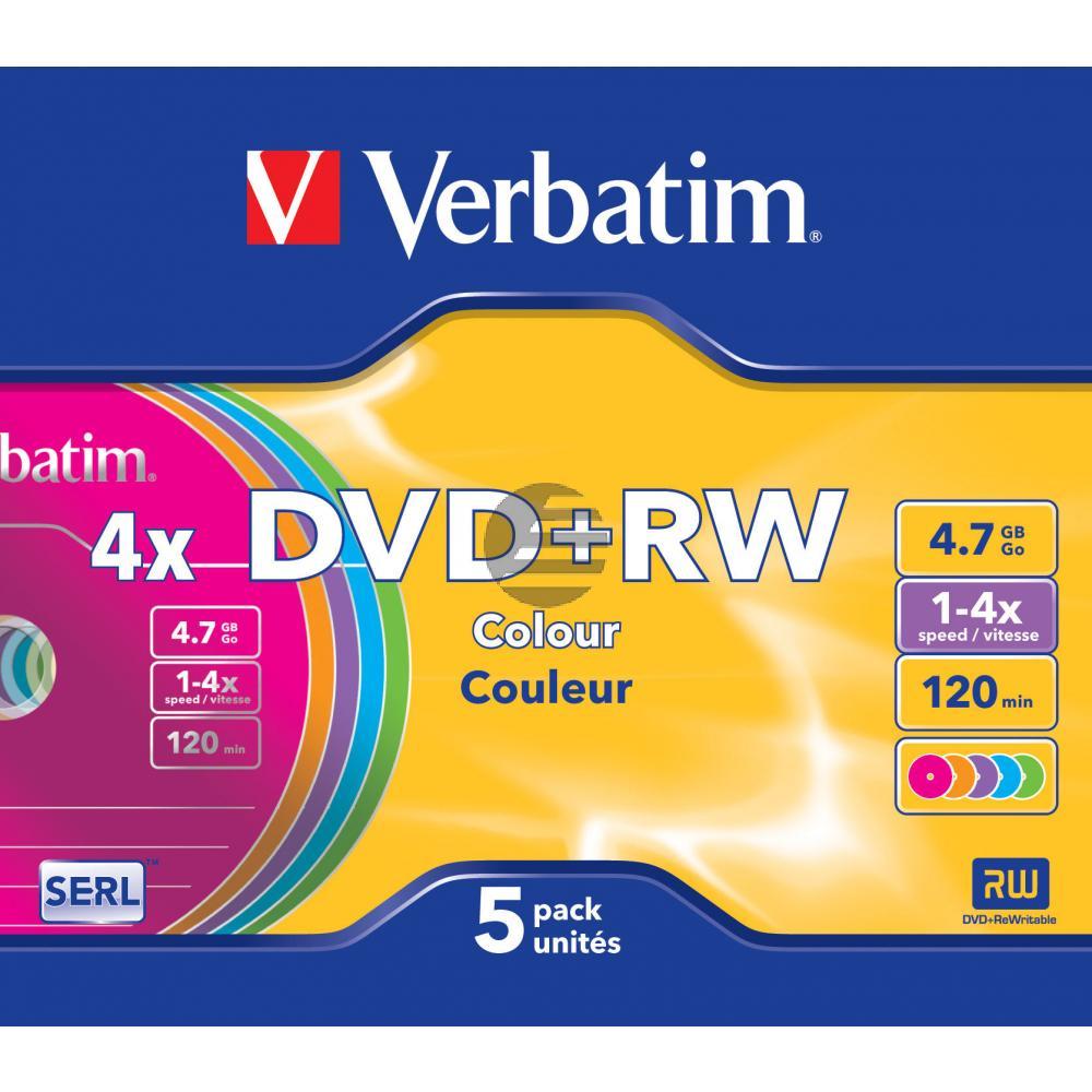 VERBATIM DVD+RW 4.7GB 4x (5) SC FARBIG 43297 Slim Case wiederbeschreibbar