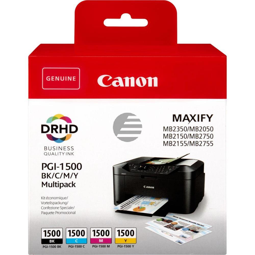 Canon Tintenpatrone Blister gelb, cyan, magenta, schwarz (9218B005, PGI-1500)