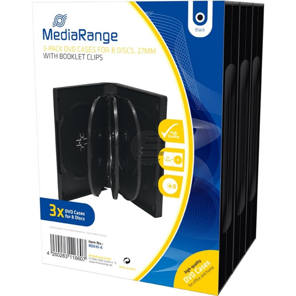 MEDIARANGE DVD CASE FUER 8STUECK (3) BOX35-8 schwarz 27mm