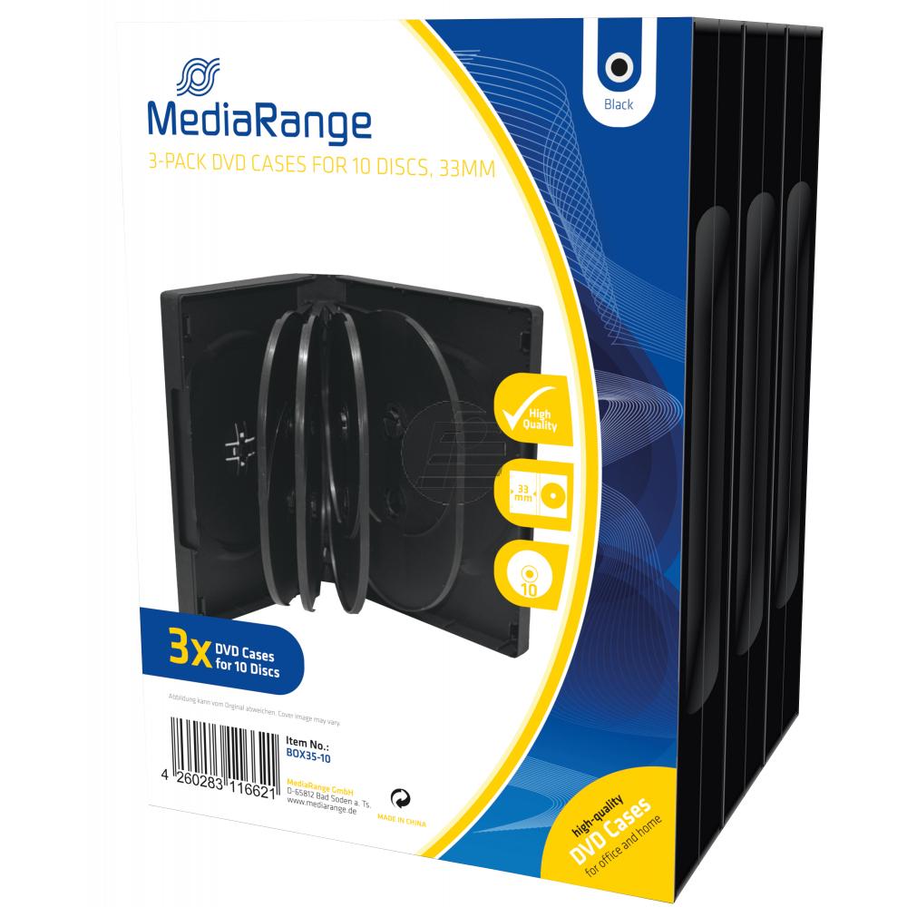 MEDIARANGE DVD CASE FUER 10STUECK (3) BOX35-10 schwarz 33mm