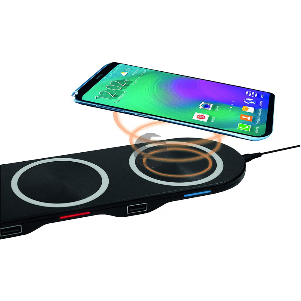 LogiLink 3-in-1 Wireless Table Charger - induktive Ladestation black
