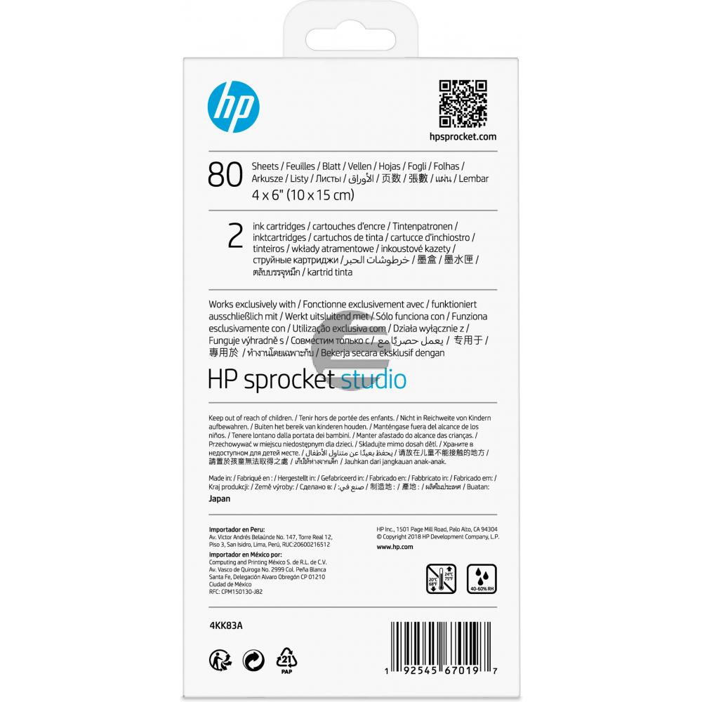 HP Tintenpatrone (Zink Papier) weiß 80 Blatt 10 x 15 cm (4KK83A)