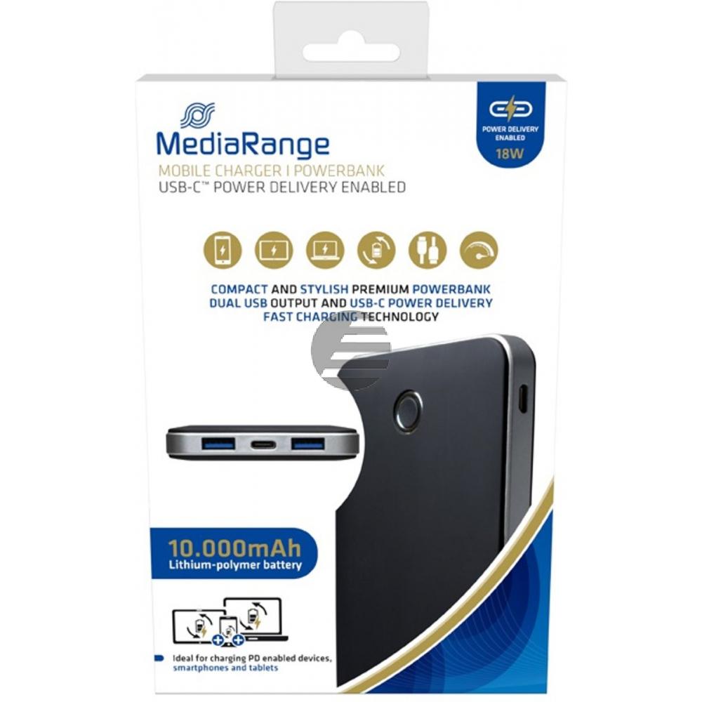 MEDIARANGE MOBILE POWERBANK SCHWARZ MR753 10.000mAh Micro-USB-C Ladekabel