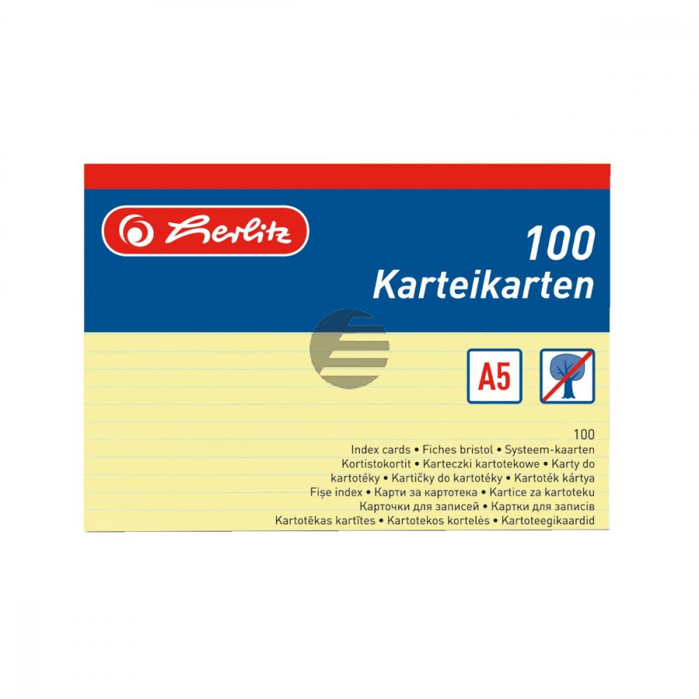 Herlitz Karteikarten A5 gelb liniert Inh.100 (01150515)