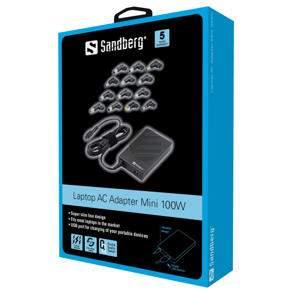 Sandberg Laptop AC Adapter Mini 100W EU