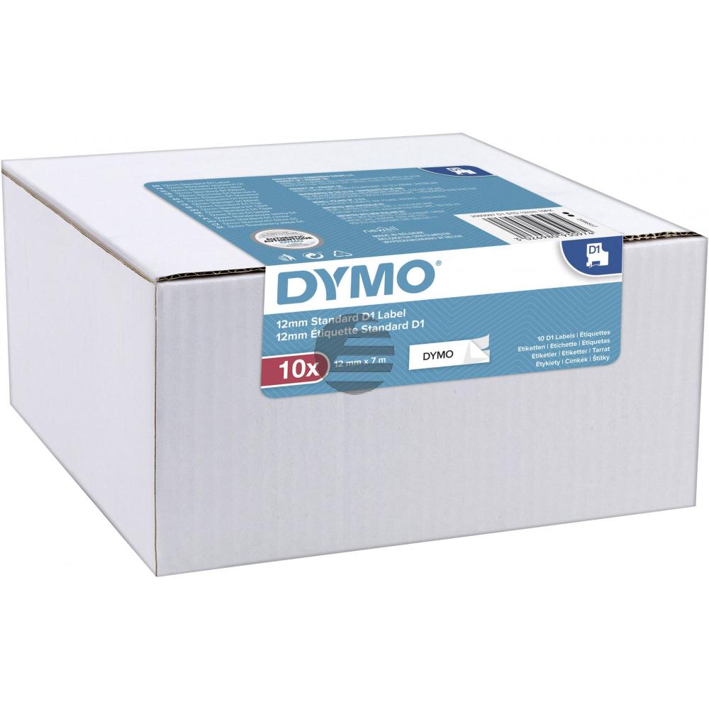 2093097 DYMO D1 12mm (10) SCHWARZ-WEISS Etikettenband 7m selbstklebend