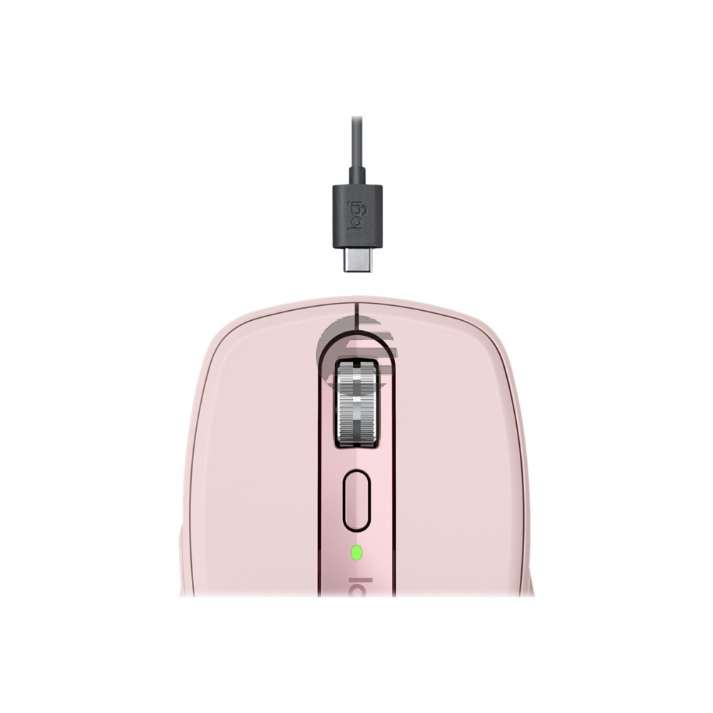 Logitech MX Anywhere 3 - Maus - Laser - 6 Tasten - kabellos - Bluetooth, 2.4 GHz - kabelloser Empfänger (USB) - rosé