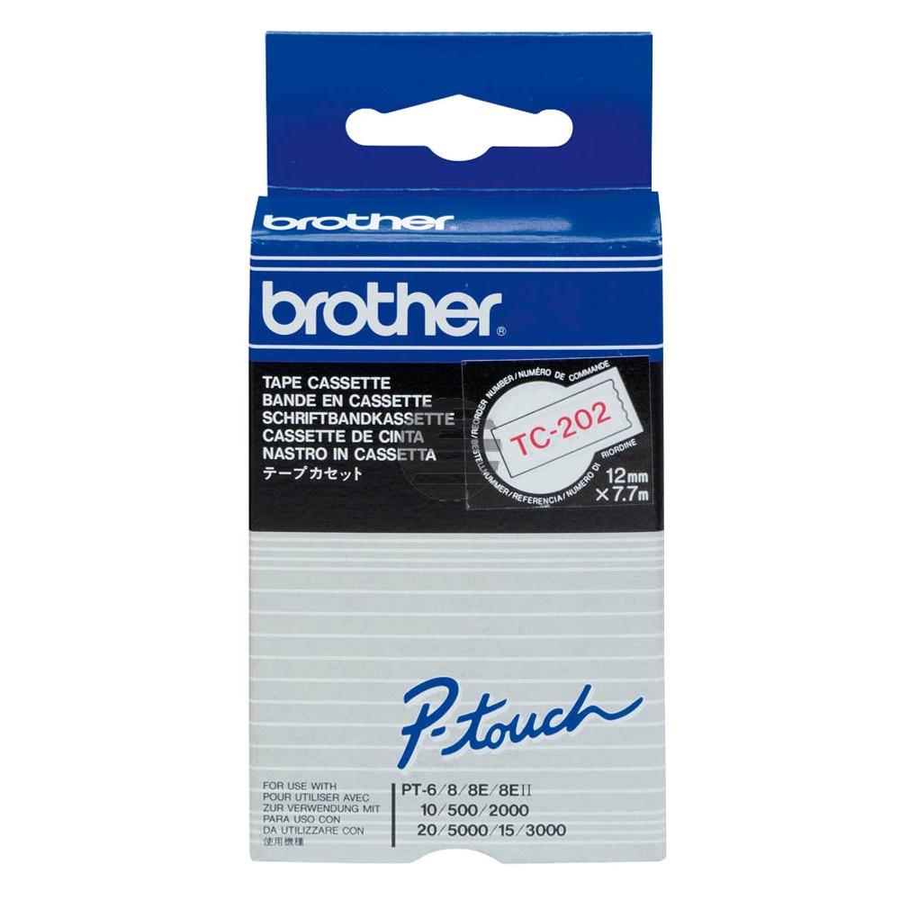 Brother Schriftbandkassette rot/weiß (TC-202)