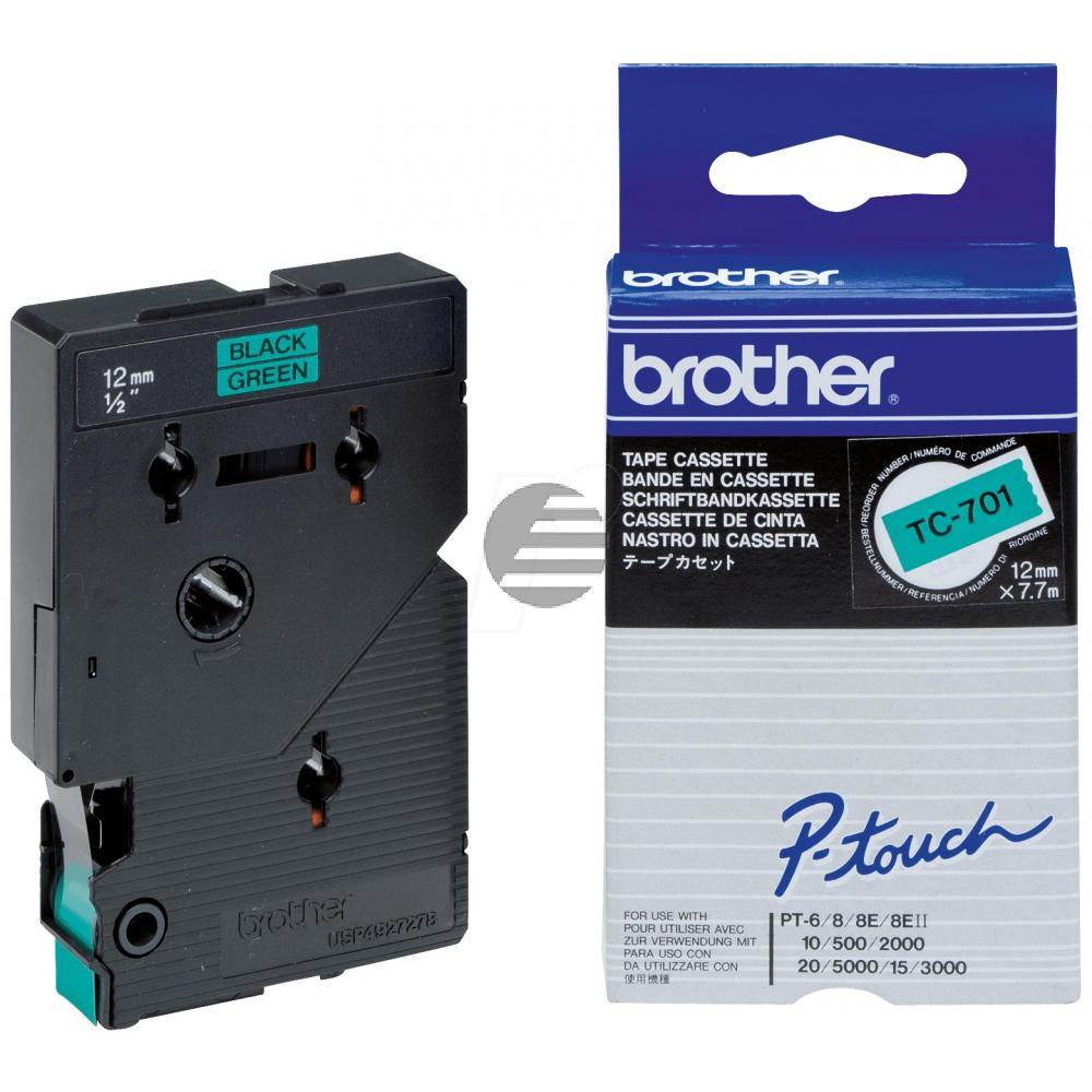 Brother Schriftbandkassette schwarz/grün (TC-701)