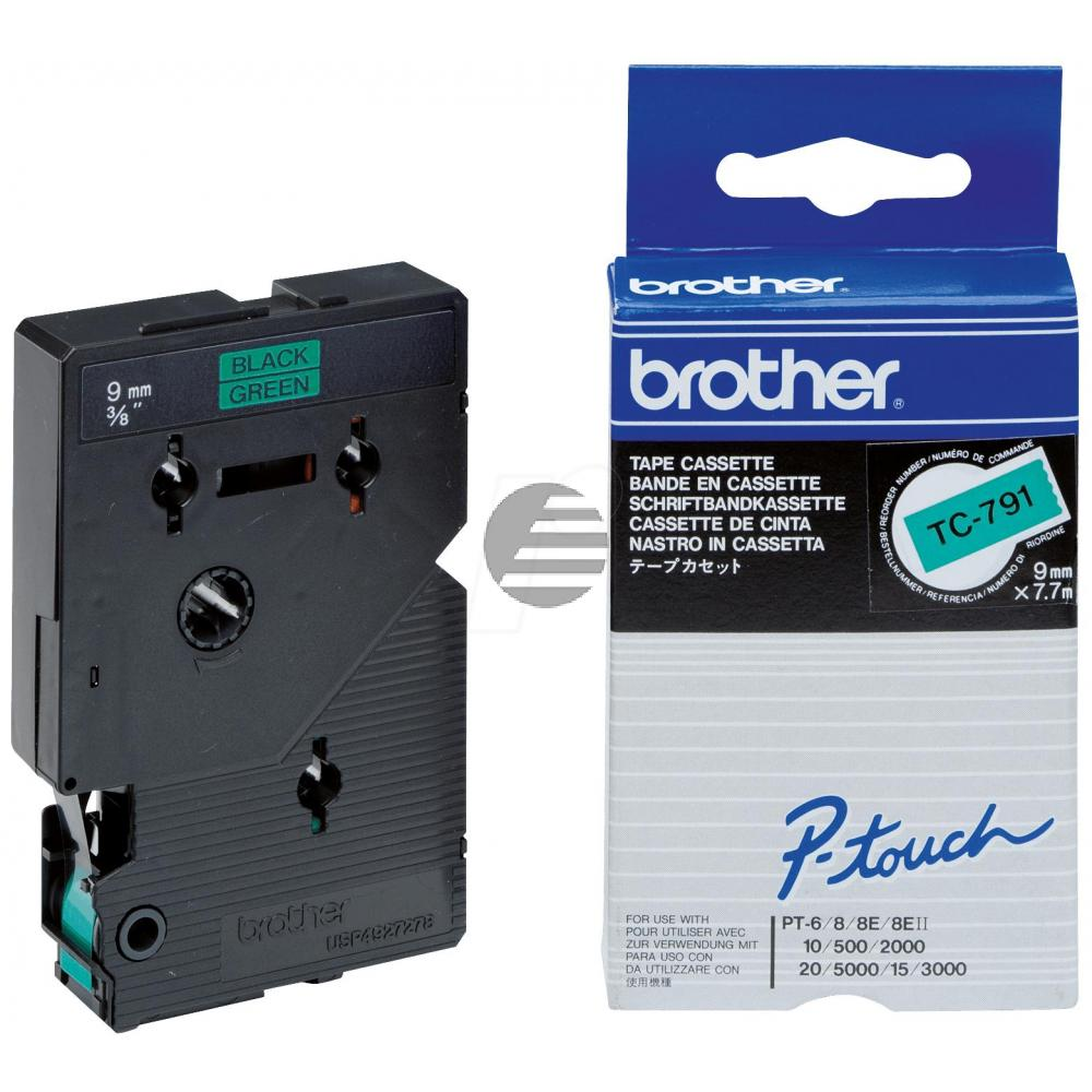 Brother Schriftbandkassette schwarz/grün (TC-791)