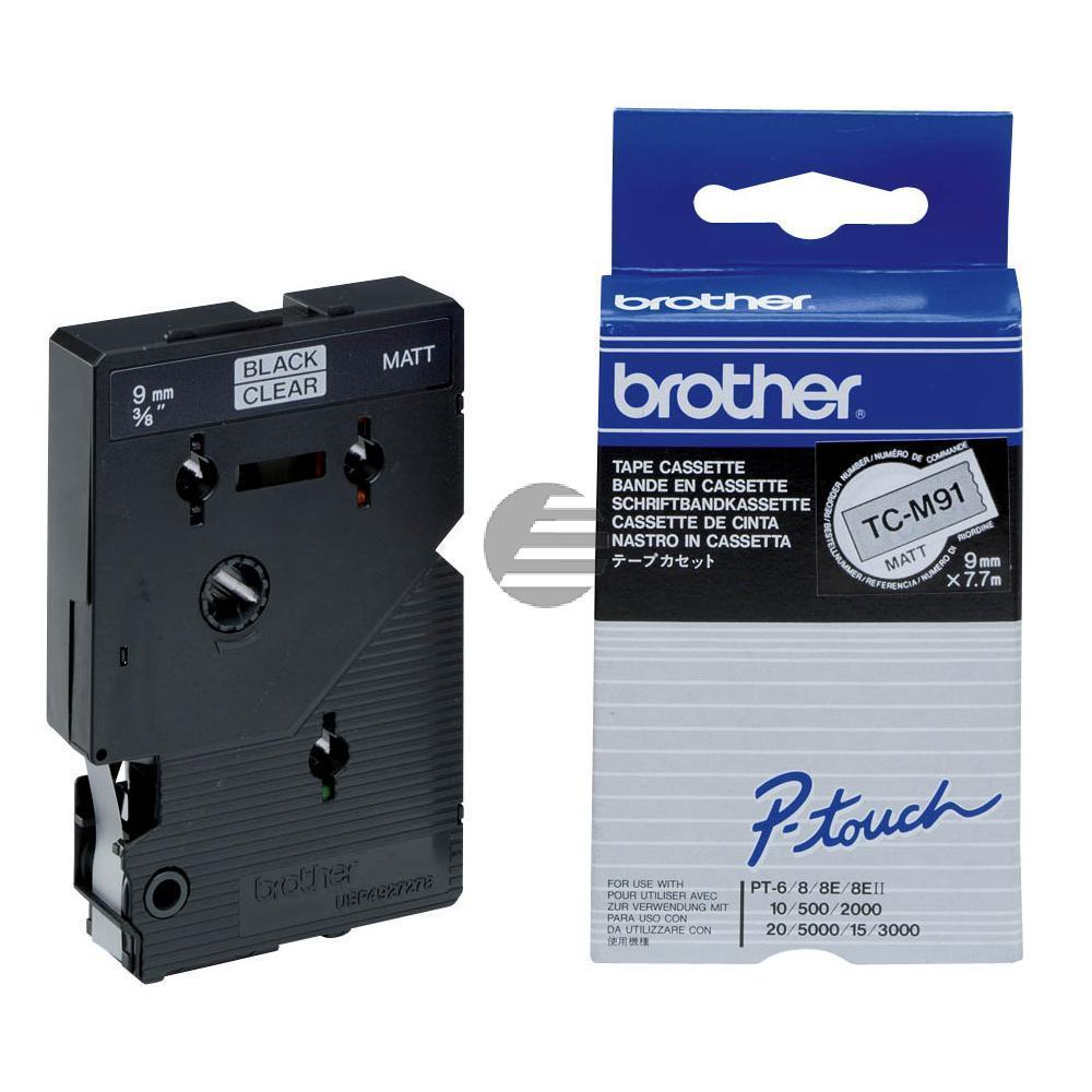 Brother Schriftbandkassette schwarz/transparent matt (TC-M91)