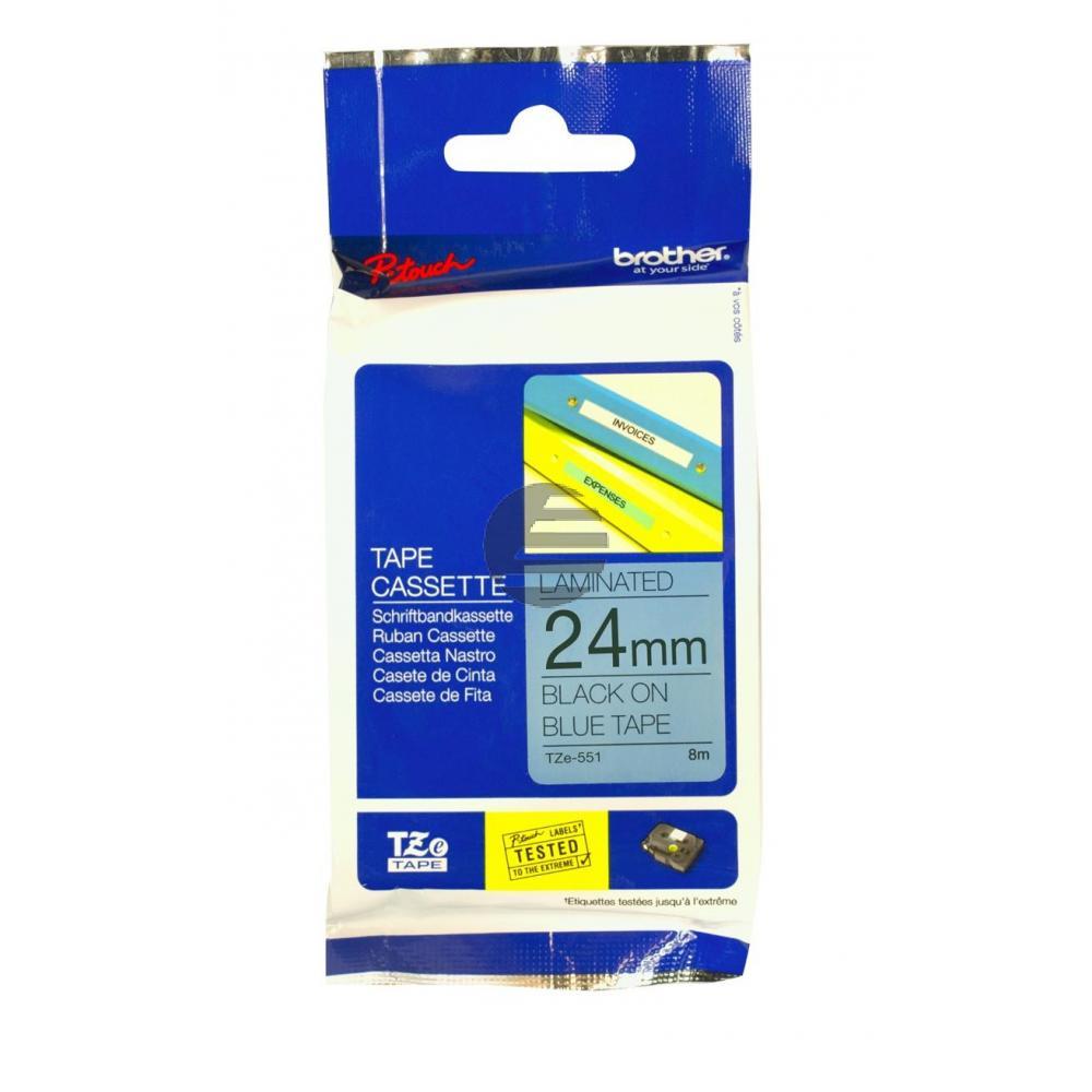 Brother Schriftbandkassette schwarz/blau (TZE-551)