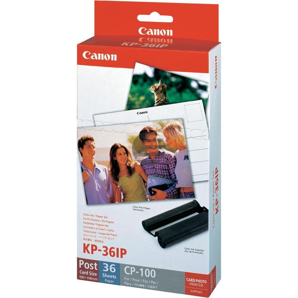 Canon Fotopapier 100 x 150mm weiß farbig 36 Blatt (7737A001, KP-36IP)