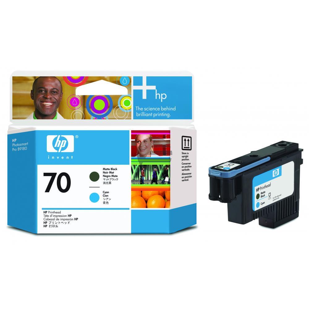 HP Tintendruckkopf schwarz matt/cyan (C9404A, 70)
