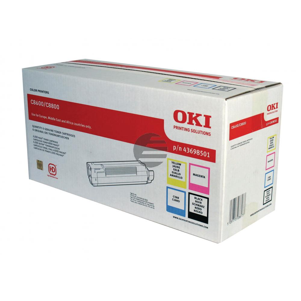OKI Toner-Kit gelb, cyan, schwarz, magenta (43698501)