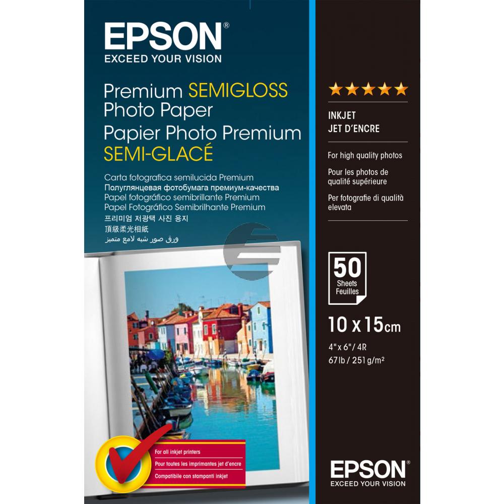 Epson Premium Semigloss Photopapier weiß 10 x 15 cm 251 g/m² (C13S041765)