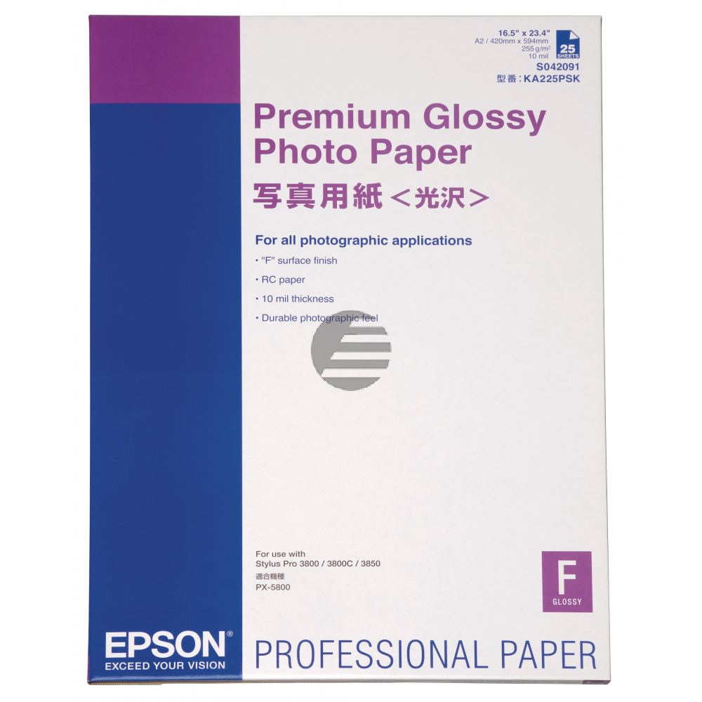 Epson Premium Glossy Photo Paper weiß DIN A2 (C13S042091)