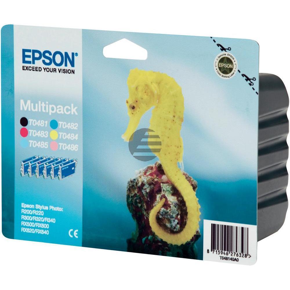 Epson Tintenpatrone gelb, cyan, cyan light, magenta, magenta light, schwarz (C13T04874010, T0487)