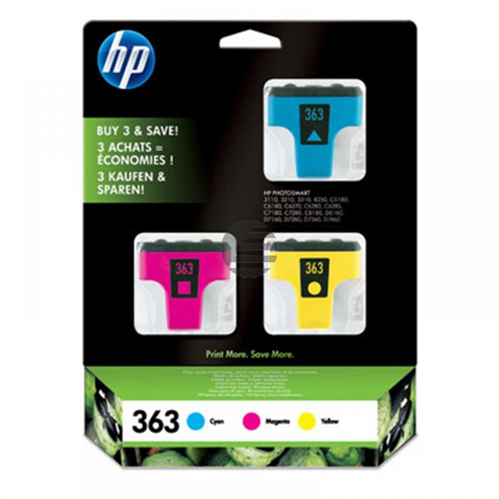 HP Tintenpatrone gelb, cyan, magenta (CB333EE, 363)
