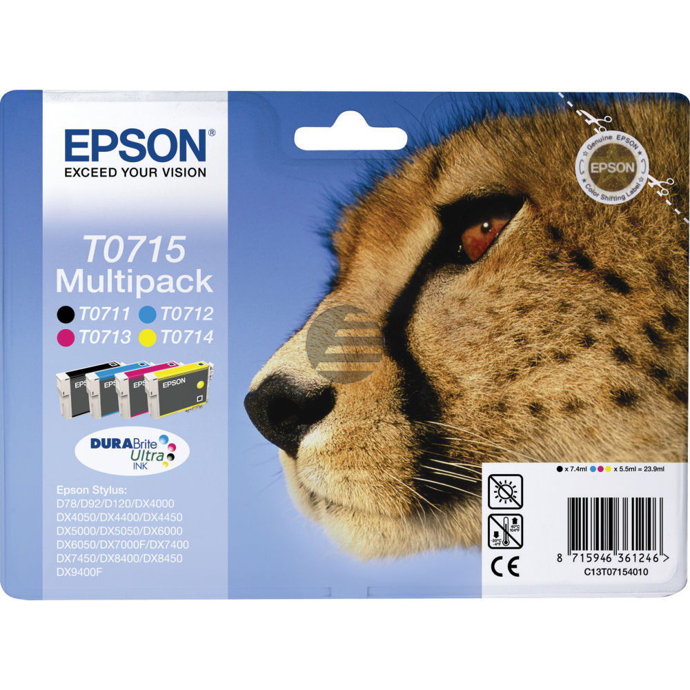 Epson Tintenpatrone gelb, cyan, schwarz, magenta (C13T07154010, T0715)