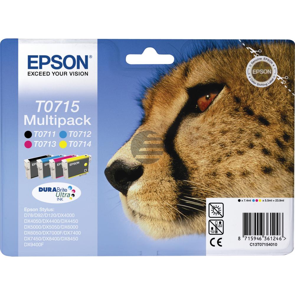 Epson Tintenpatrone gelb, cyan, magenta, schwarz (C13T07154010, T0715)