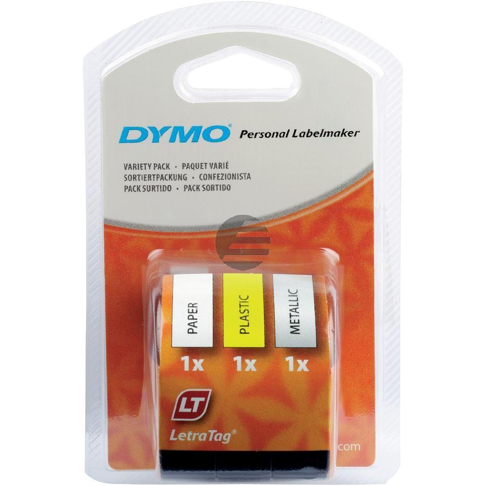Dymo Schriftbandkassette schwarz/gelb, schwarz/weiß, schwarz/silber metallic (91241)