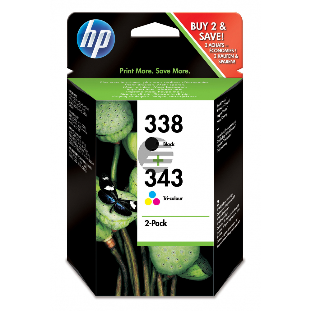 HP Tintenpatrone cyan/gelb/magenta, schwarz (SD449EE, 338, 343)