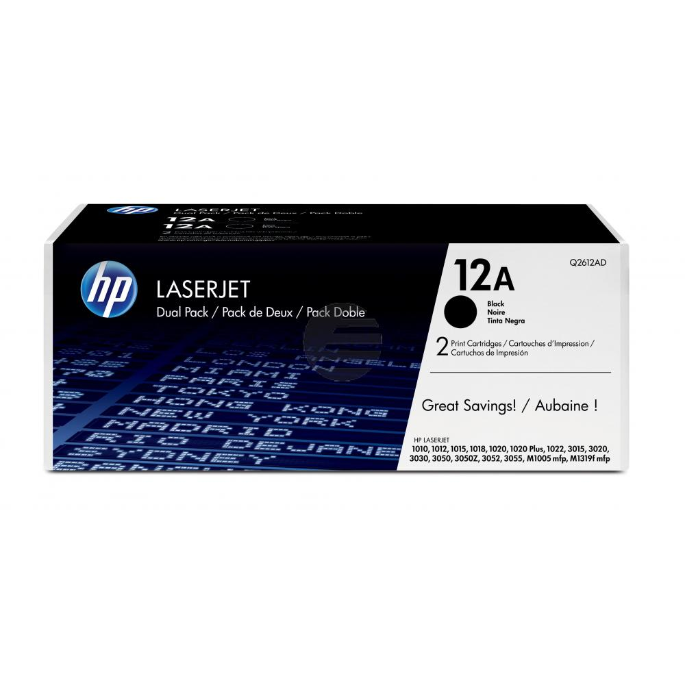 HP Toner-Kartusche 2 x schwarz (Q2612AD, 12AD)