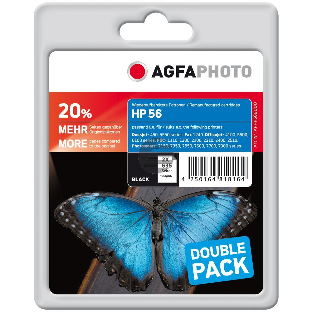 Agfaphoto Tintendruckkopf 2 x schwarz HC (APHP56DUO) ersetzt 56