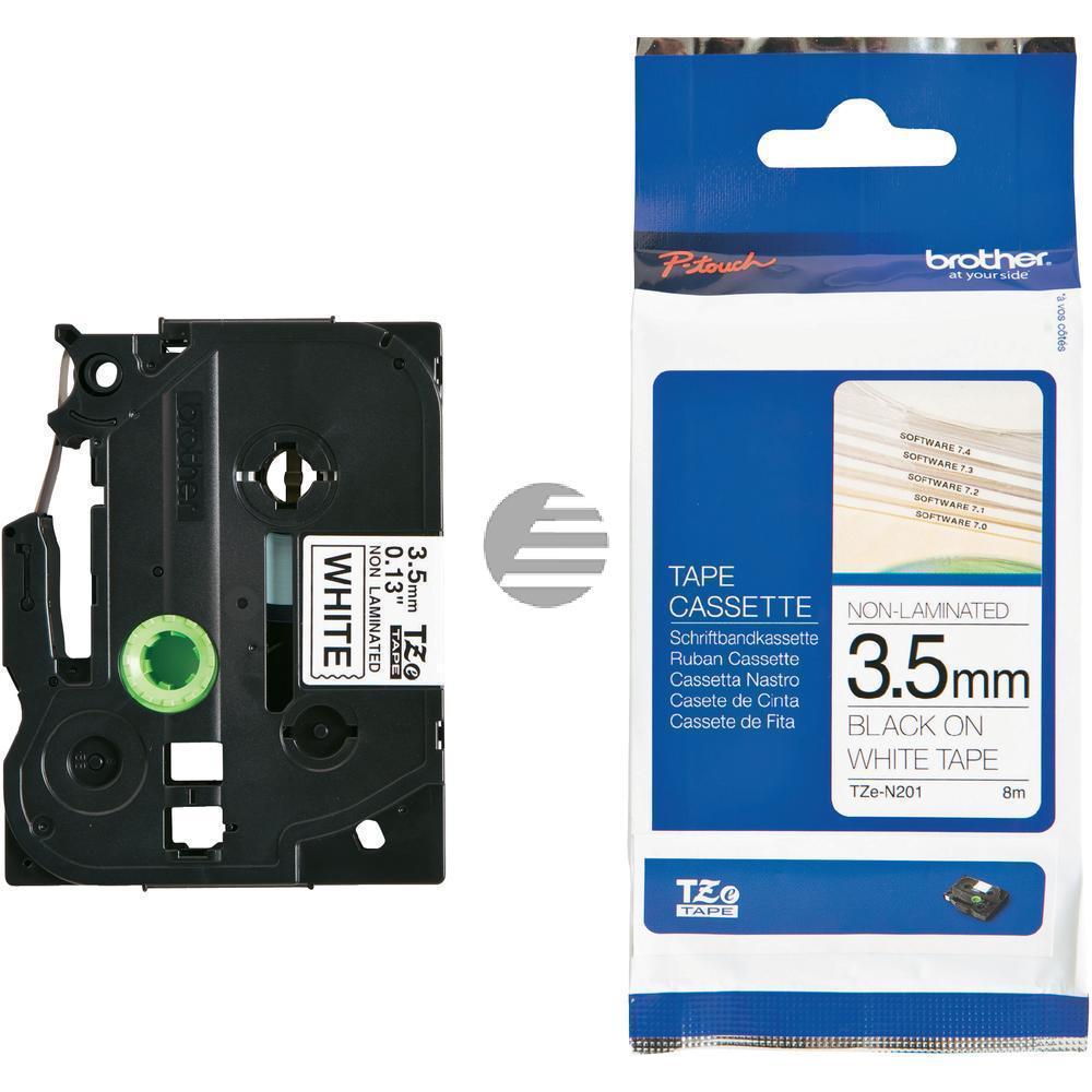 Brother Schriftbandkassette 3,5mm schwarz/weiß (TZE-N201)