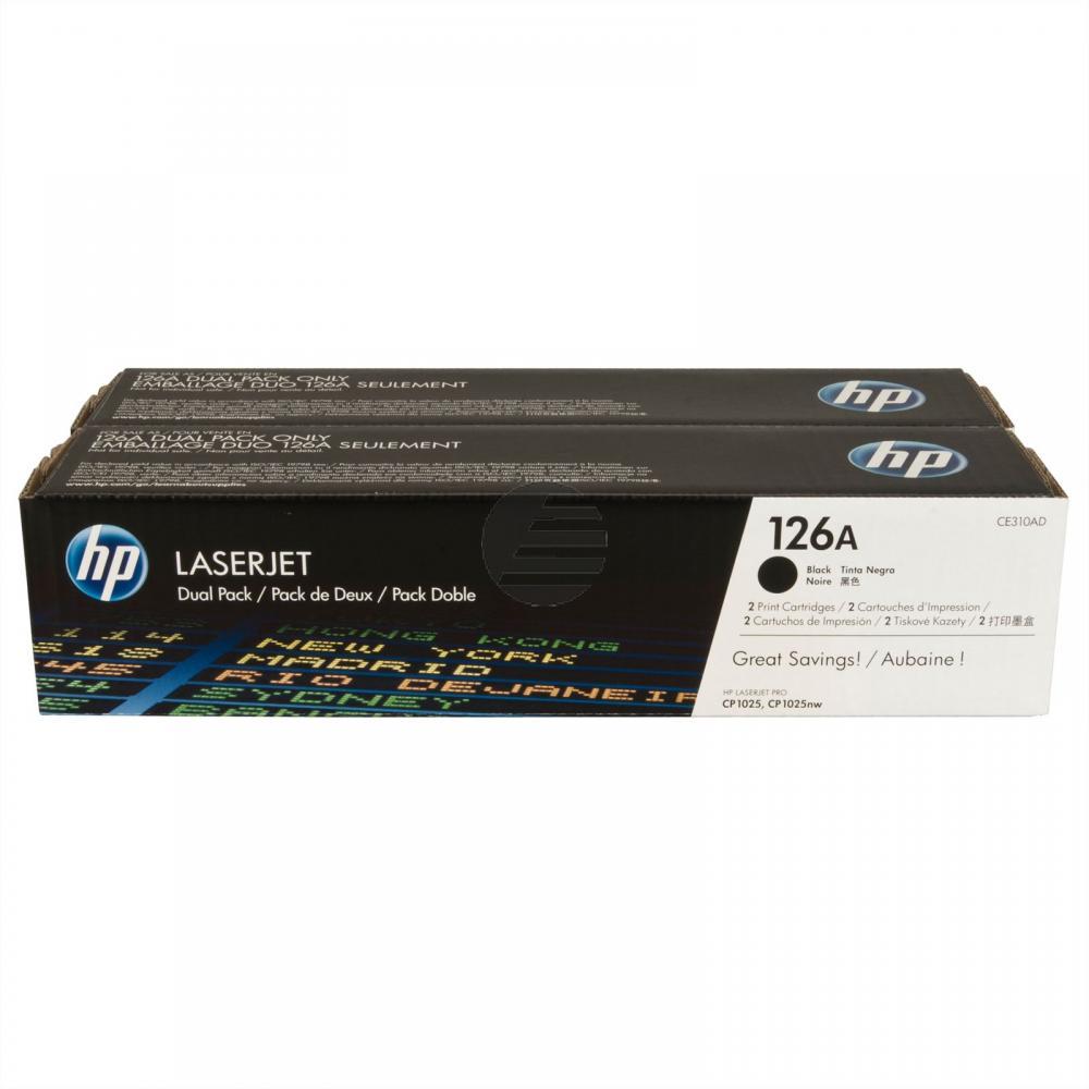 HP Toner-Kartusche 2 x schwarz (CE310AD, 126A)