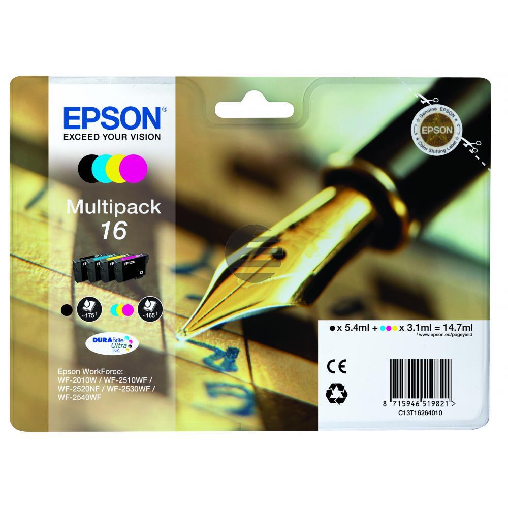 Epson Tintenpatrone gelb, cyan, magenta, schwarz (C13T16264010, T1626)