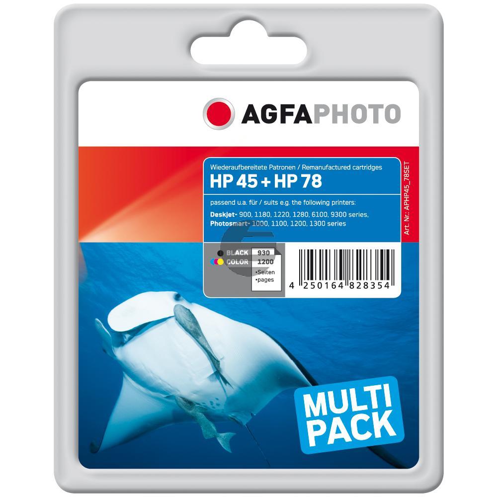 Agfaphoto Tintendruckkopf cyan/gelb/magenta, schwarz HC (APHP45_78SET) ersetzt 45
