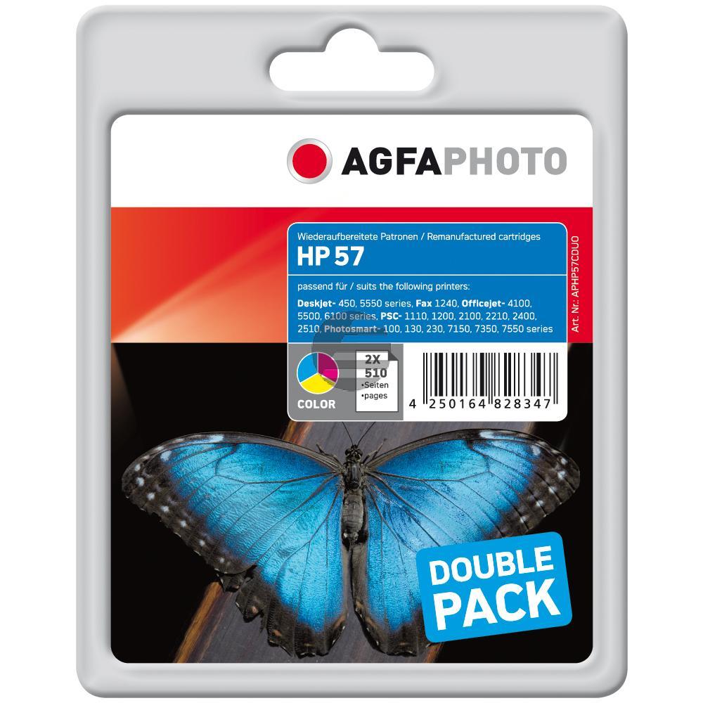 Agfaphoto Tintendruckkopf 2 x cyan/gelb/magenta HC (APHP57CDUO) ersetzt 57