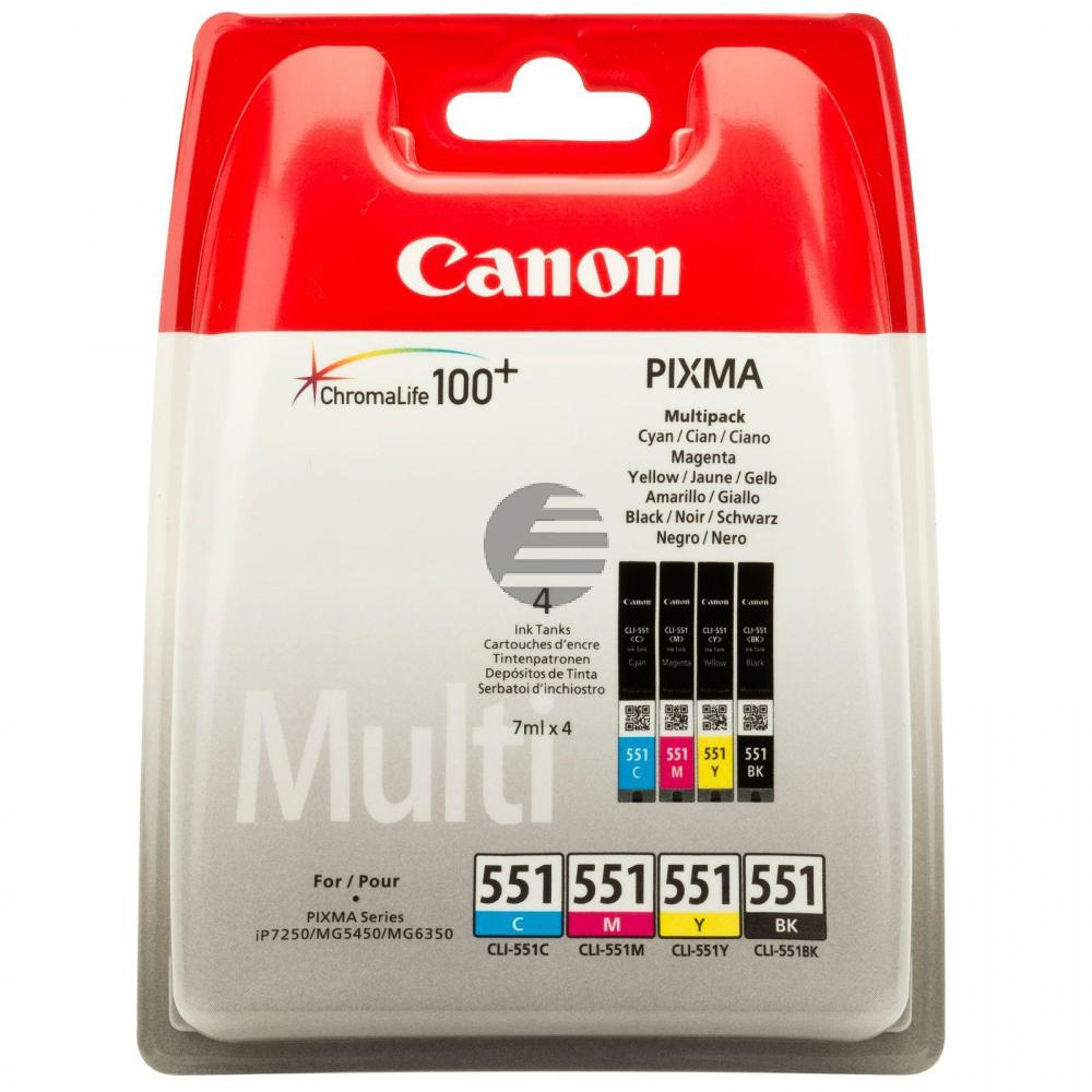 Canon Tintenpatrone gelb, cyan, schwarz, magenta (6509B009, CLI-551BK, CLI-551C, CLI-551M, CLI-551Y)
