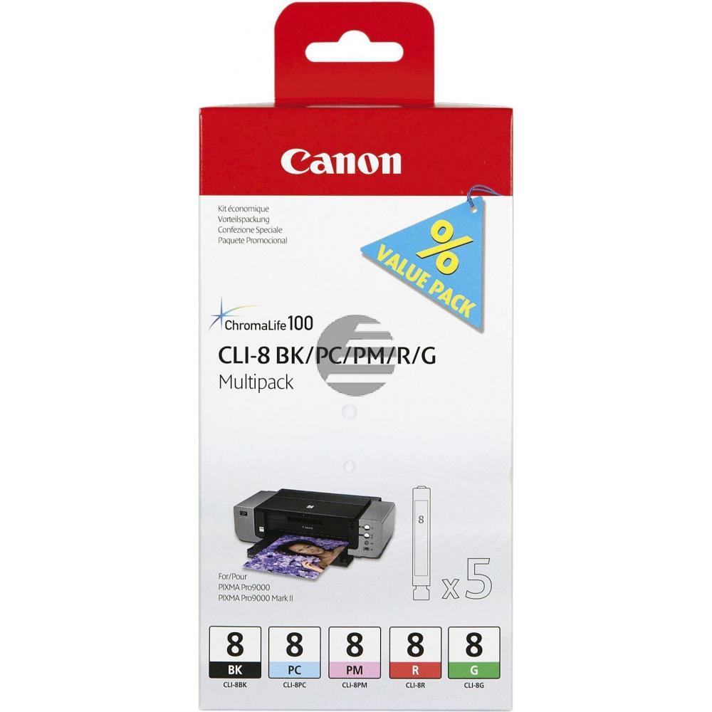 Canon Tintenpatrone schwarz, rot, photo magenta, photo cyan, grün (0620B027, CLI-8BK, CLI-8G, CLI-8PC, CLI-8PM, CLI-8R)