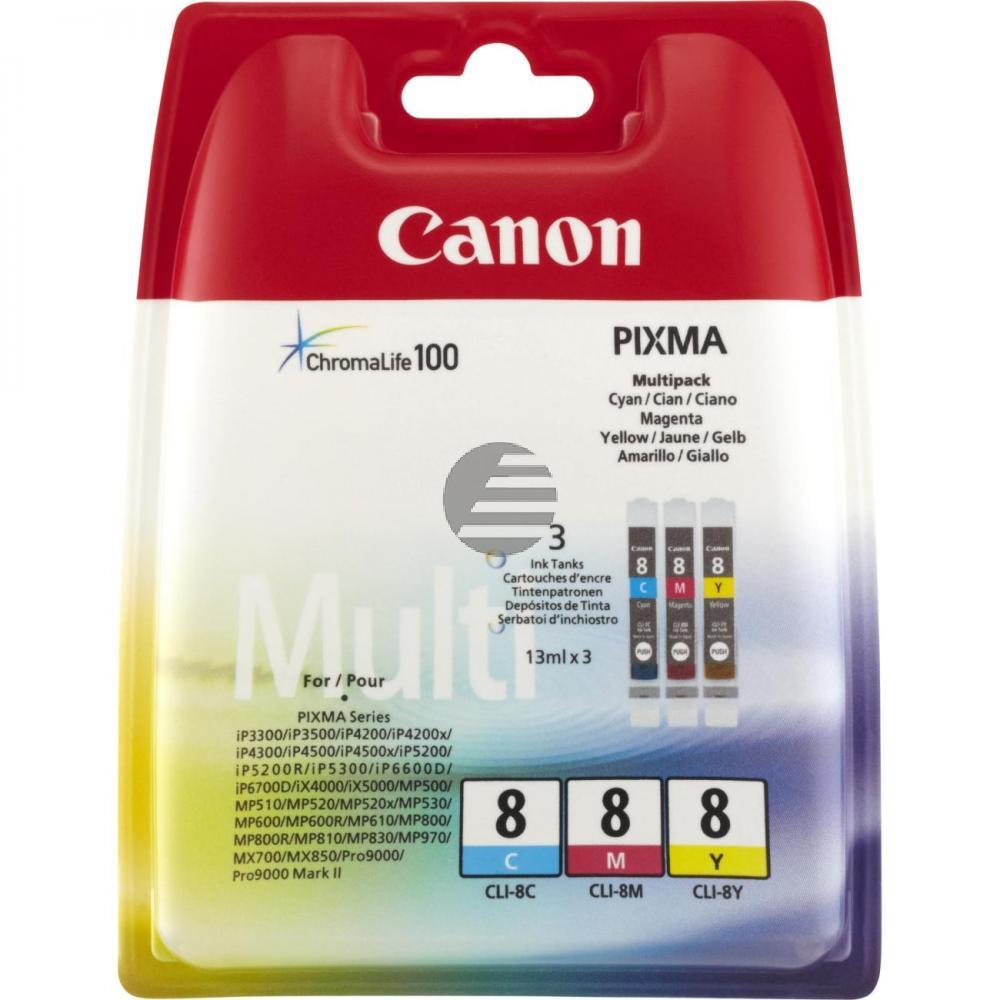 Canon Tintenpatrone gelb, cyan, magenta (0621B036, CLI-8C, CLI-8M, CLI-8Y)