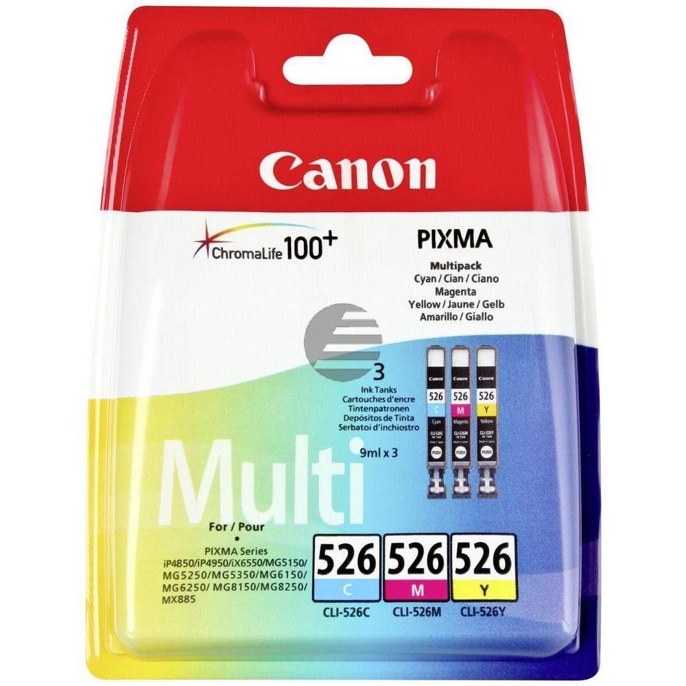 Canon Tintenpatrone gelb, cyan, magenta (4541B012, CLI-526C, CLI-526M, CLI-526Y)