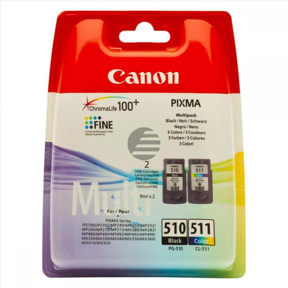 Canon Tintenpatrone cyan/gelb/magenta, schwarz (2970B011, CL-511, PG-510)