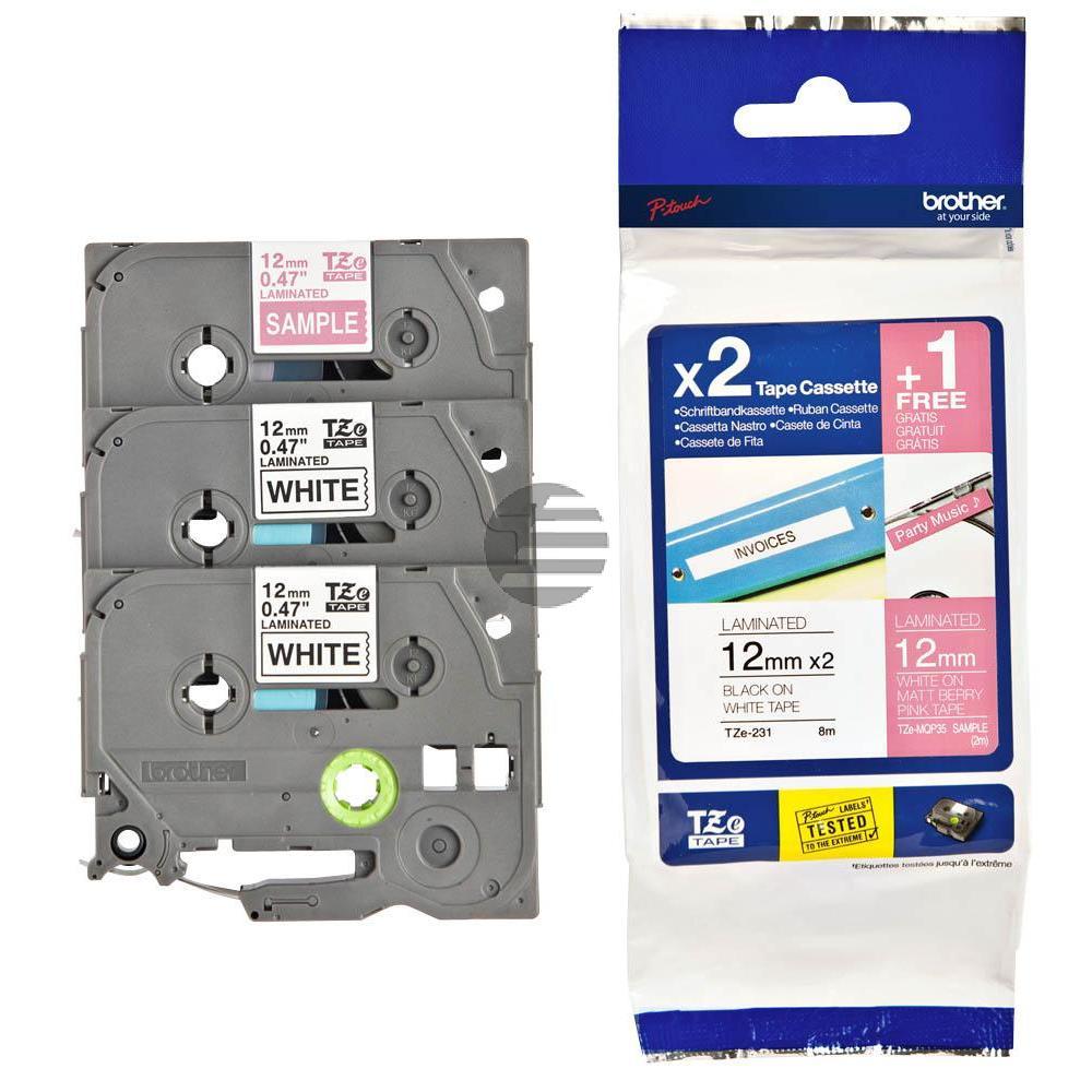 Brother Schriftbandkassette 2 x schwarz/weiß, weiß/pink (TZE-32M3)