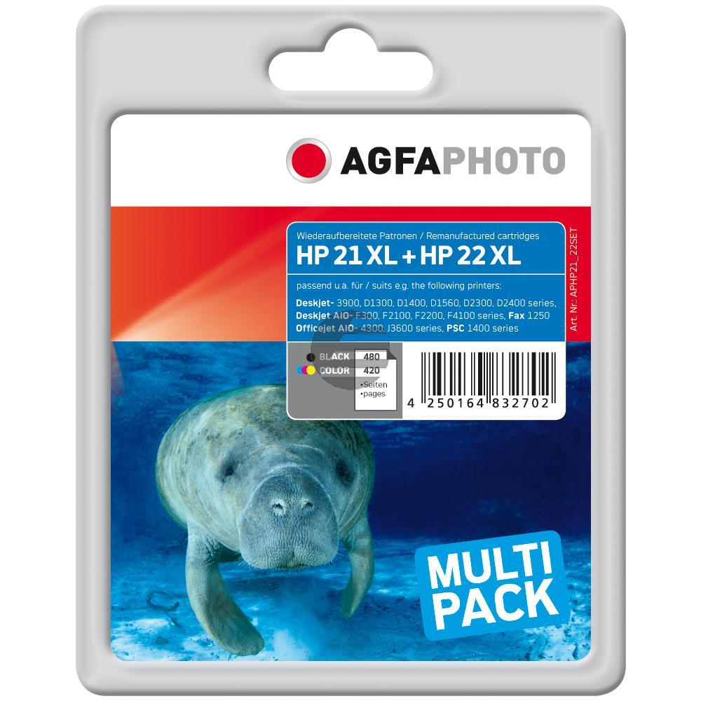 Agfaphoto Tintenpatrone cyan/gelb/magenta, schwarz (APHP21_22SET) ersetzt 21